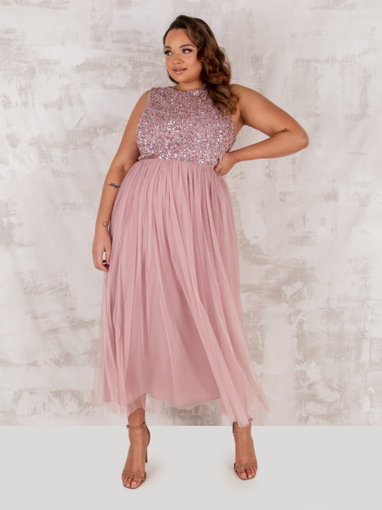 Maya Curve Frosted Pink Embellished Midaxi Dress