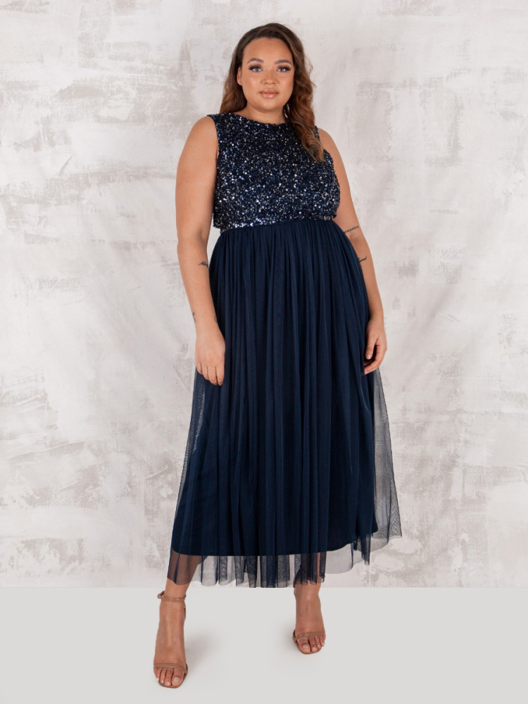 Maya Navy Embellished Midaxi Dress