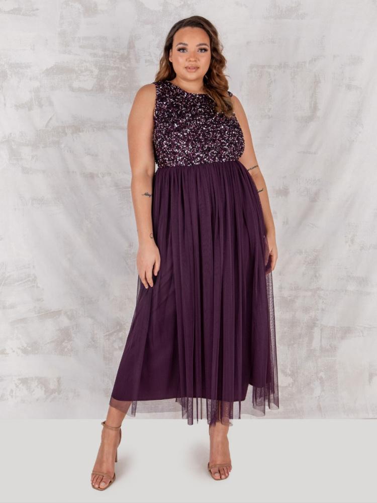 Maya Berry  Embellished Midaxi Dress