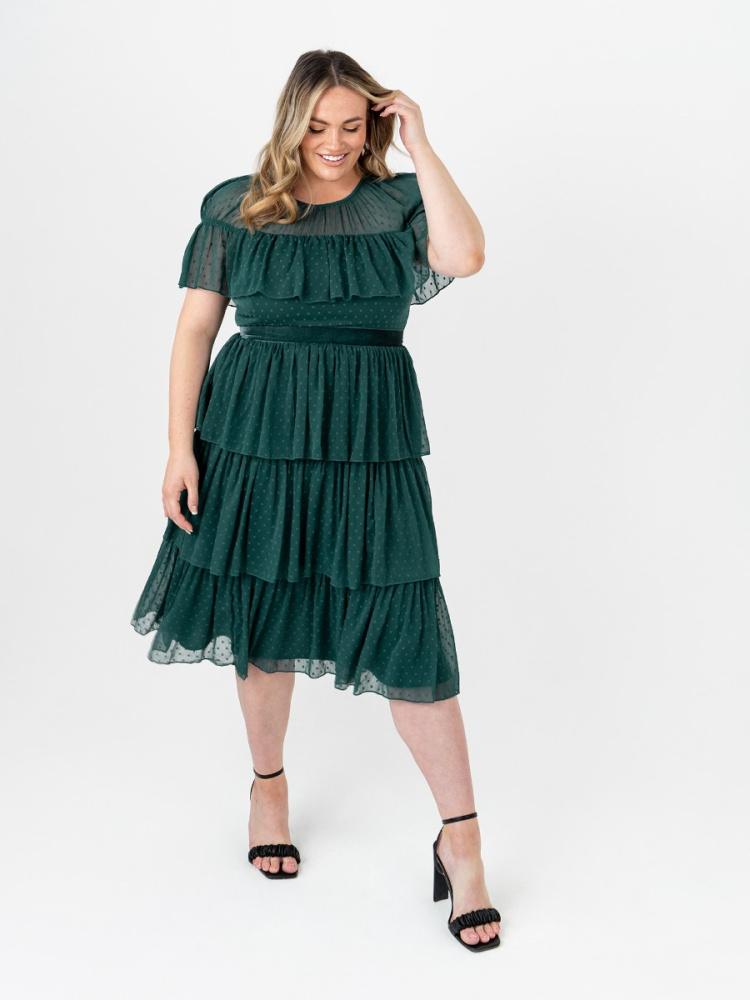 Anaya With Love Curve Recycled Pine Green Tiered Midi Dress with Ruffle Detail