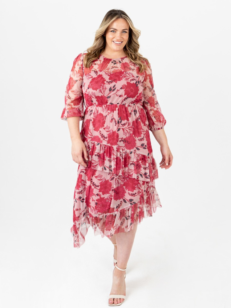 Anaya With Love Curve Recycled Floral Print Asymmetrical Midi Dress with Ruffle Detail