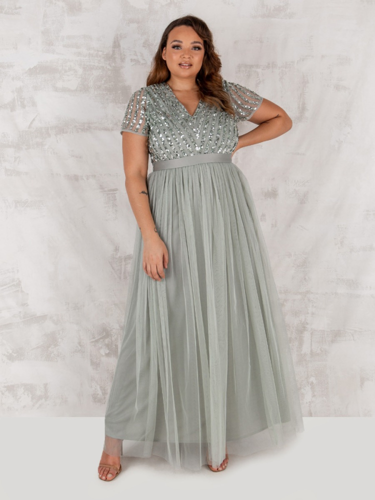 Maya Curve Green Lily Stripe Embellished Maxi Dress With Sash Belt