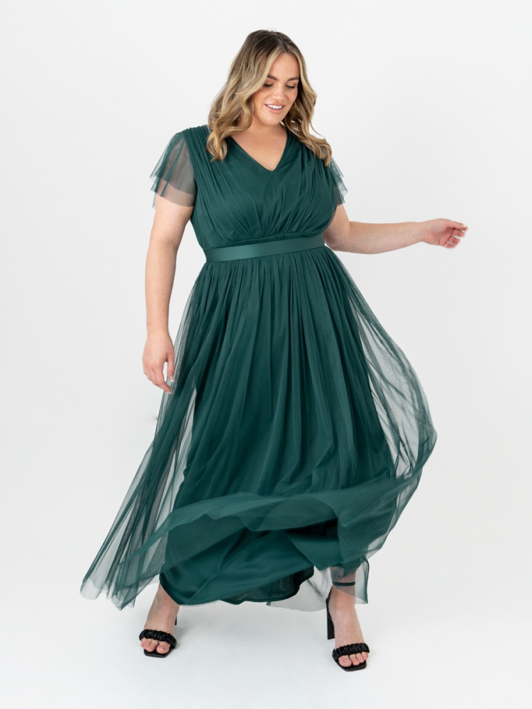 Anaya With Love Curve Pine Green V Neckline Recycled Tulle Maxi Dress With Sash Belt
